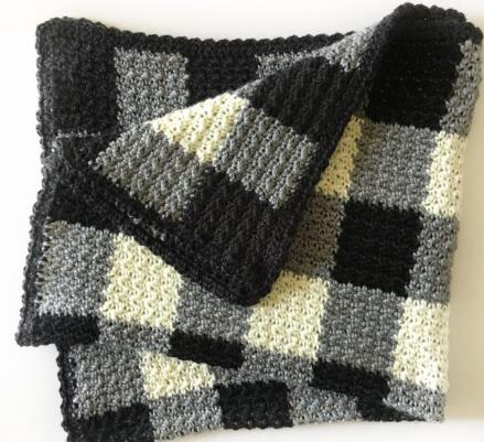 Griddle Stitch Gingham Black Pattern