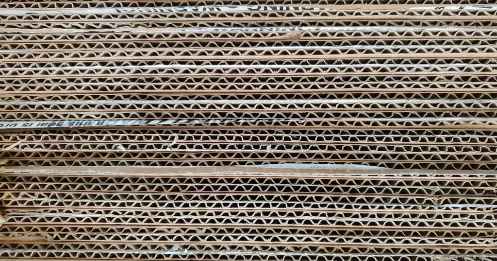 Cardboard sheets stacked together creating a beautiful pattern