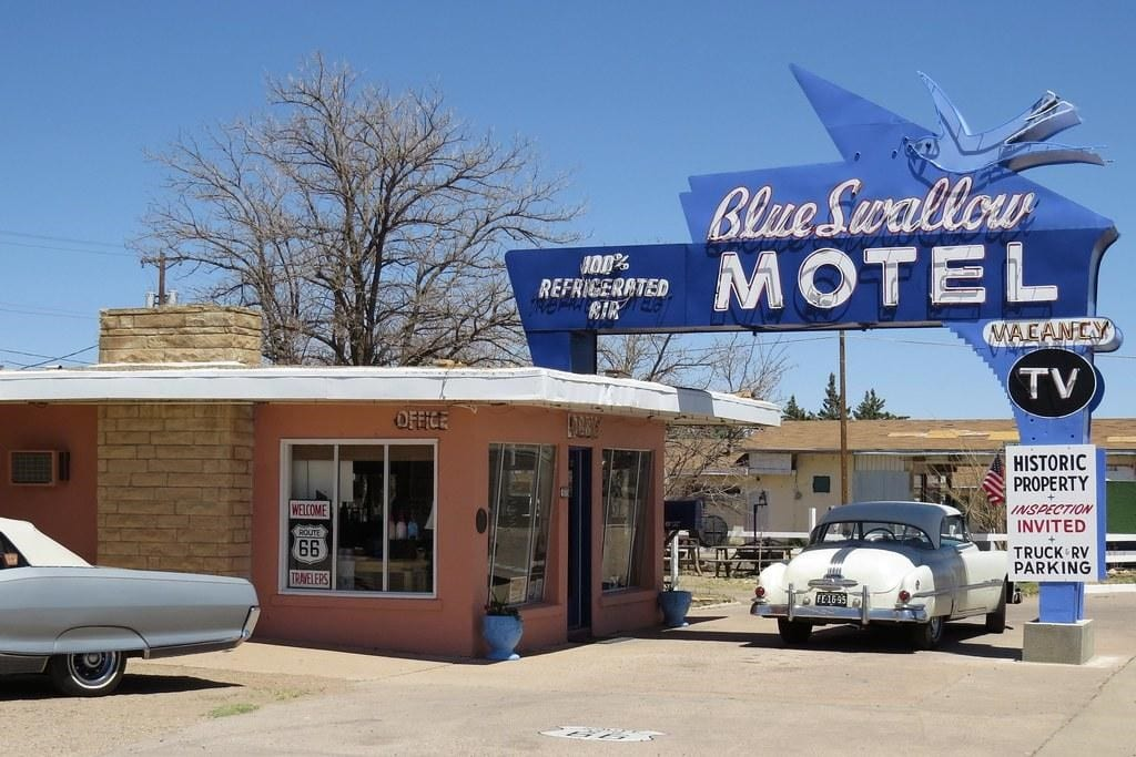 The blue sign of the famous motel, The Blue Swallow Motel