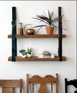 Leather and Wood Shelf