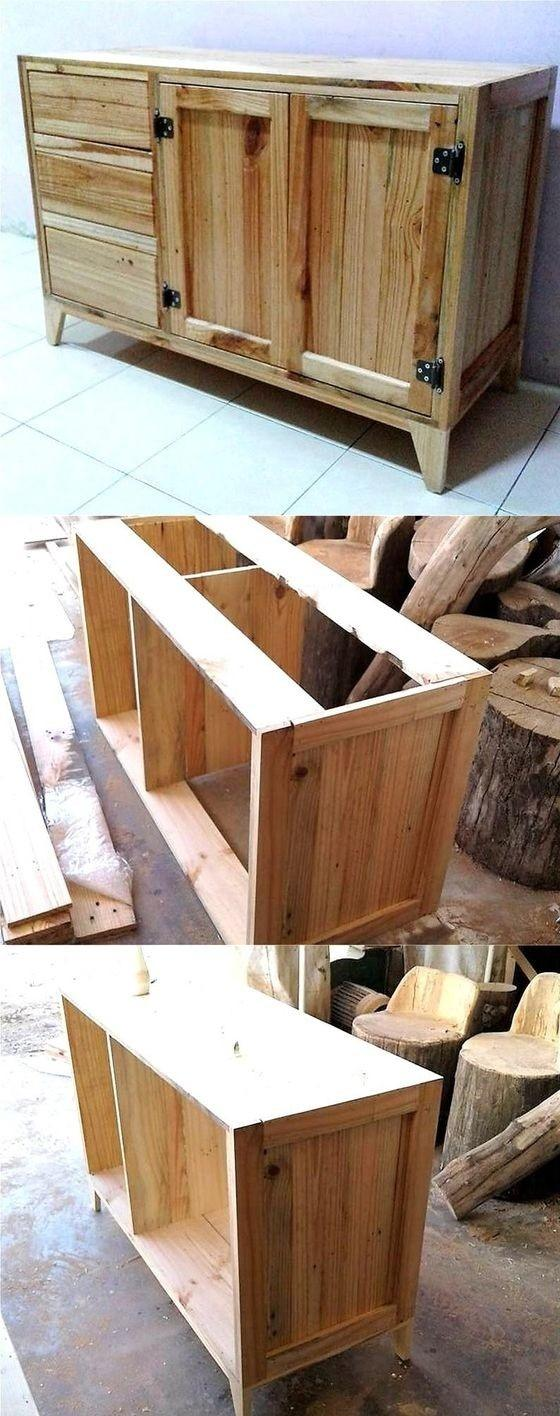 Pallet Wood Table With Drawers A