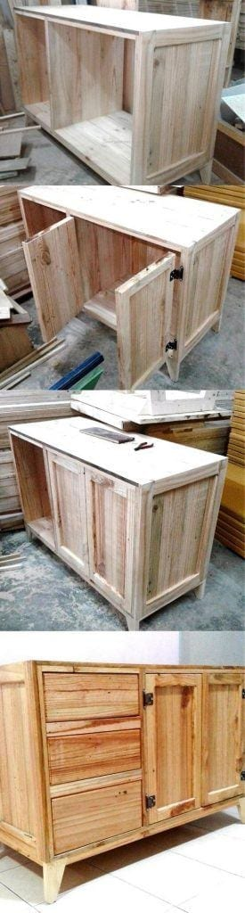 Pallet Wood Table With Drawers B