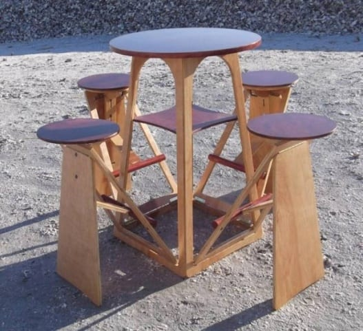Table Having Attached Stools