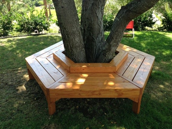 Wooden Tree Bench
