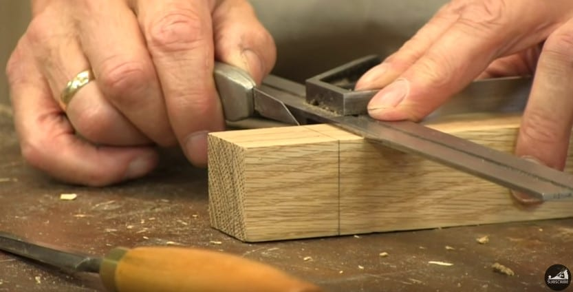 12 Mark The Tenon Joint Wood With A Knife