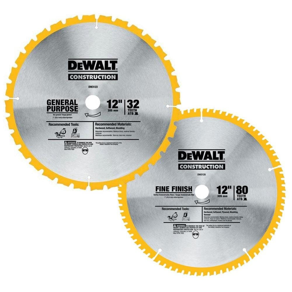 Dewalt Dw3128P5 80 Tooth And 32T Atb Thin Kerf 12-Inch Crosscutting Miter Saw Blade