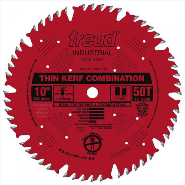 Freud 10 In. 50 Tooth Thin Kerf Combination Saw Blade