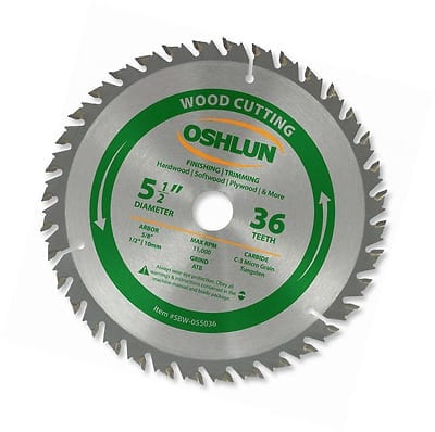 Oshlun SBW-055036 5-1-2-Inch 36 Tooth ATB Finishing and Trimming Saw Blade with 5-8-Inch Arbor