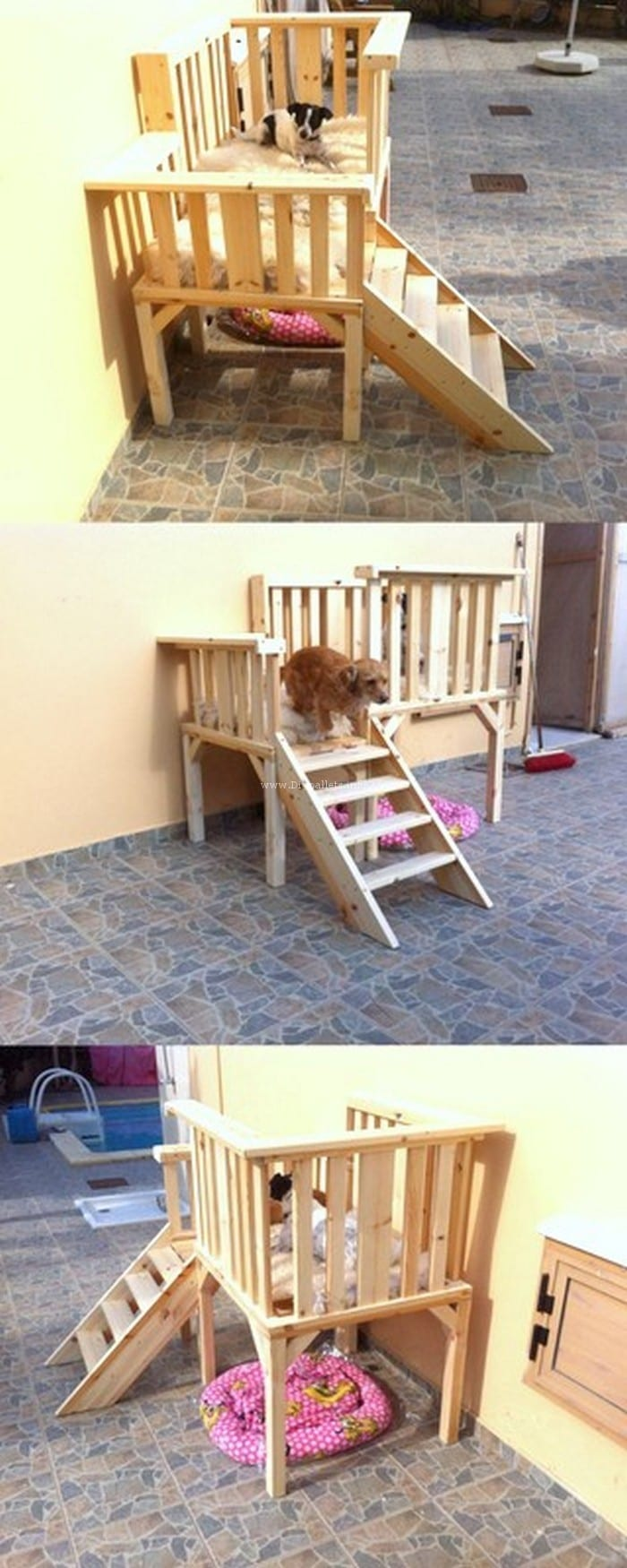 Diy Pallet Double Dog Bed With Staircase