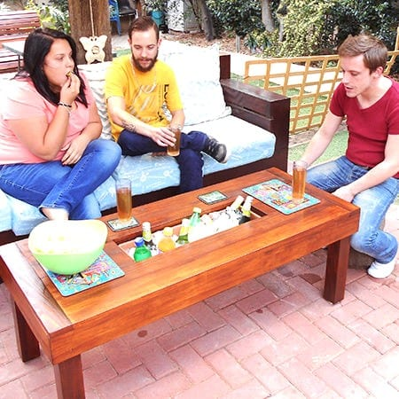 Diy Poolside Patio Table With Built In