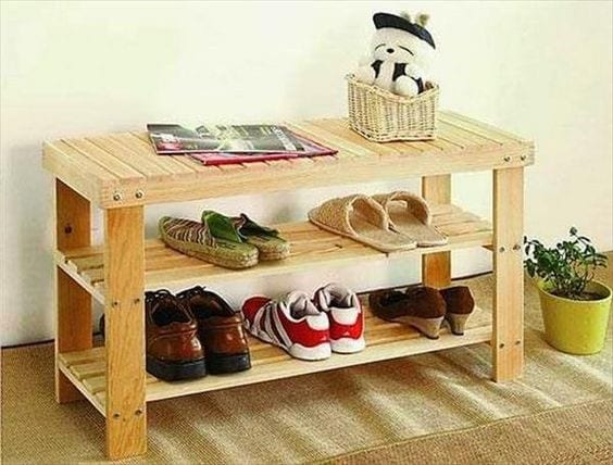 Pallet Table Shoe Rack