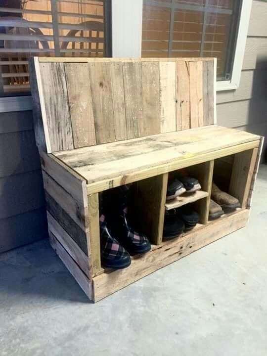 Pallet Wood Shoe Rack Chair