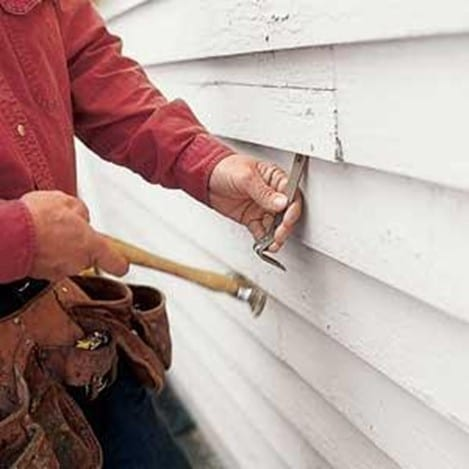 Step 1 Remove The Wood Siding With The Help Of A Utility Knife And A Pry Bar