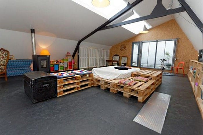 Attic Bedroom Made Of Wooden Pallets Furniture