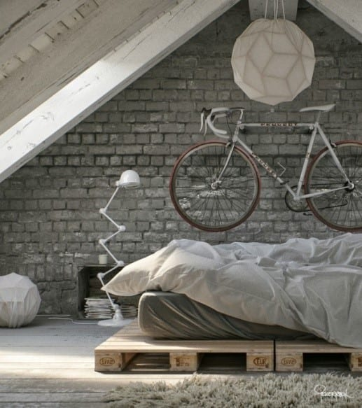 Attic Loft Bed With Wooden Pallet Bed Frame