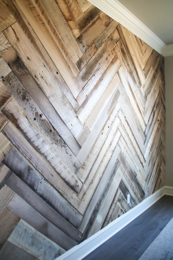 Diy Barn Wood Herringbone Wall
