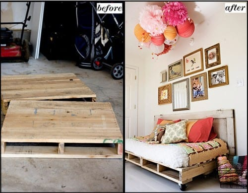 Diy Pallet Bed Frame Before And After