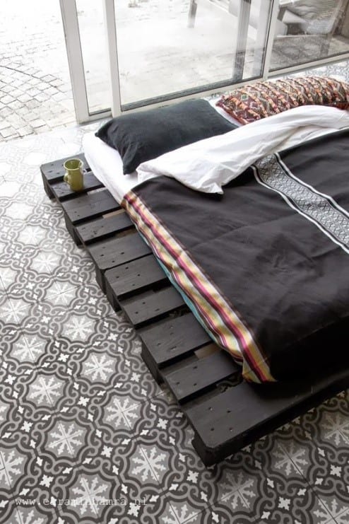 Dark Colored Pallet Bed Frame
