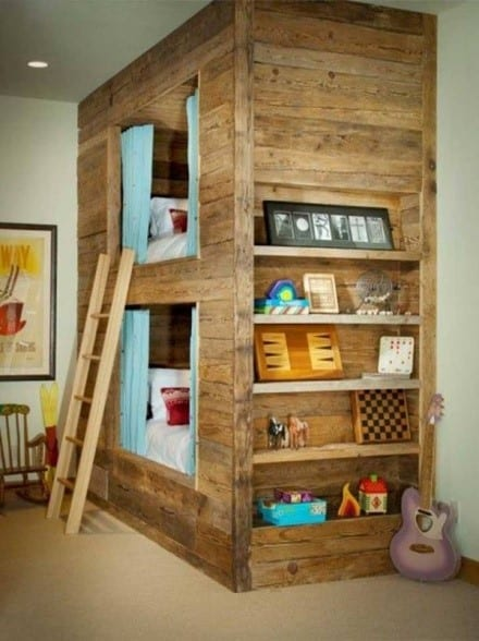 Double Deck Bed Frame Made From Wooden Pallets