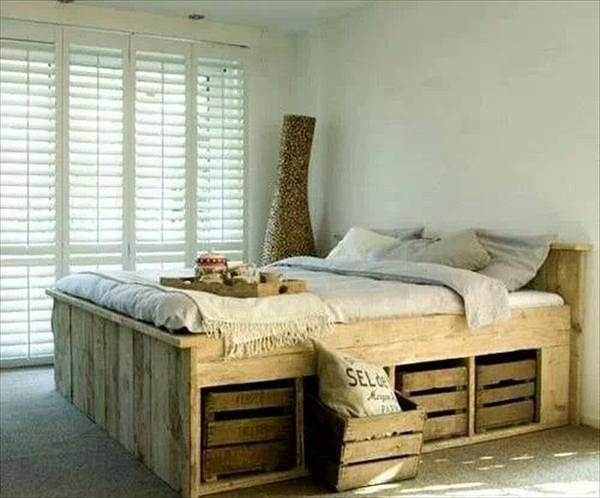 Pallet Bed Frame With Modular Crate Storage Space