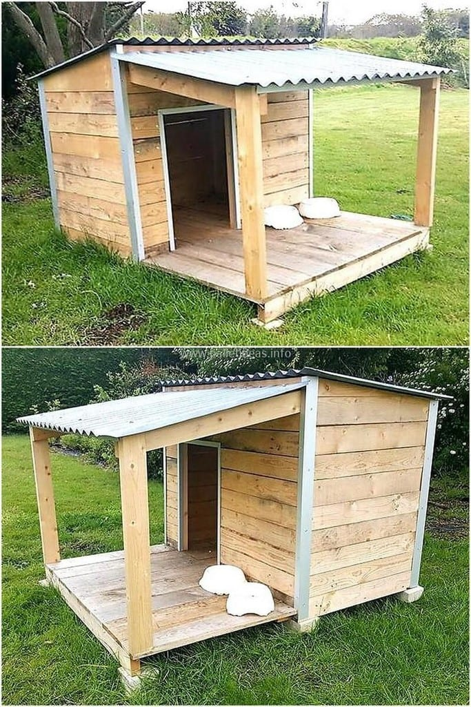 Pallet Dog House With Mini Porch