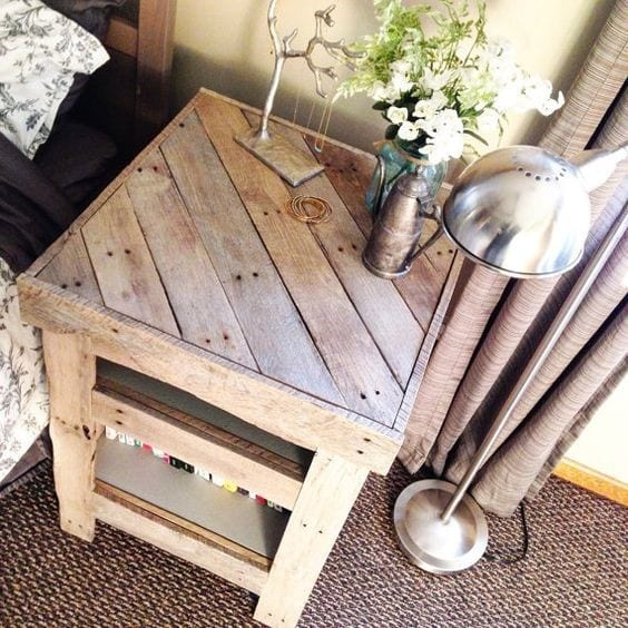 Pallet Nightstand With A Diagonal Pattern