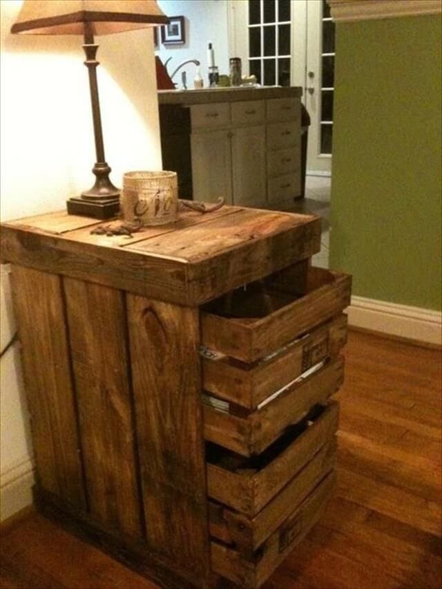 Pallet Nightstand With Deep Drawers