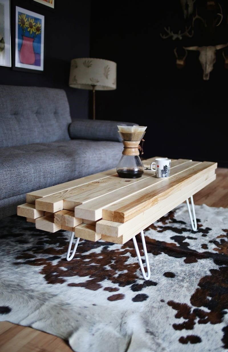 Simple Wooden Beams Pins Coffee Table