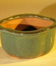 Green Glazed Ceramic Bonsai Pot - Oval 5.0 x 4.25 x 2.75