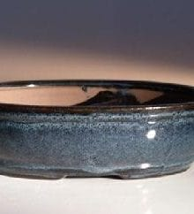 Blue Ceramic Bonsai Pot - Oval Land/Water Divider 7.75 x 6.0 x 2.5