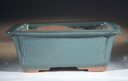 Green Ceramic Bonsai Pot - Rectangle 8.5 x 6.5 x 3.5