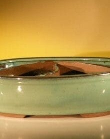 Green Ceramic Bonsai Pot - Oval Land/Water Divider 11.25 x 9.5 x 3.0
