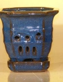 Blue Ceramic Orchid Pot - Multi-Sided 5.0 x 5.125 With Attached Tray Sized to fit 4.0 Plastic Growing Pot