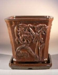 Aztec Orange Ceramic Bonsai Pot - Cascade Attached Matching Tray 7.5 x 7.5