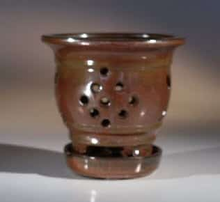 Ceramic Orchid Pot - 5.0 x 5.25 Round With Attached Saucer