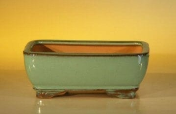 Green Ceramic Bonsai Pot - Rectangle 6.125 x 5.0 x 2.125