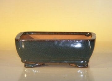 Dark Green Ceramic Bonsai Pot #1 - Rectangle 6.125 x 5.0 x 2.125
