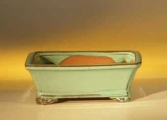 Light Green Ceramic Bonsai Pot - Rectangle 6.125 x 5.0 x 2.125