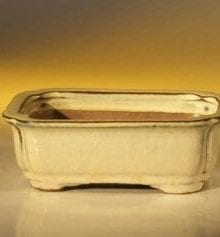 Beige Ceramic Bonsai Pot #1 - Rectangle 6.125 x 5.0 x 2.125