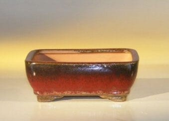 Parisian Red Ceramic Bonsai Pot #1 - Rectangle 6.125 x 5.0 x 2.125