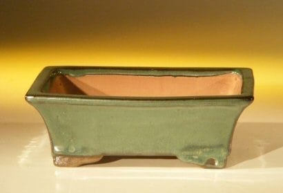 Forest Green Ceramic Bonsai Pot #2 - Rectangle 6.125 x 5.0 x 2.125