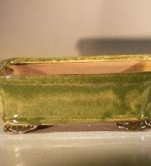 Woodlawn Green Ceramic Bonsai Pot #1 - Rectangle 8 x 6 x 2.5