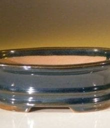 Blue Ceramic Bonsai Pot - Oval 7.0 x 5.5 x 2.375