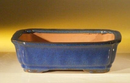 Dark Blue Ceramic Bonsai Pot - Rectangle 8.0 x 6.25 x 2.5