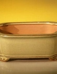 Beige Ceramic Bonsai Pot - Oval 8.0 x 6.25 x 2.5