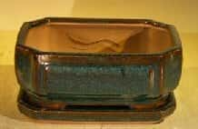 Dark Green Ceramic Bonsai Pot- Rectangle Professional Series with Attached Humidity/Drip Tray 6.37 x 4.75 x 2.625