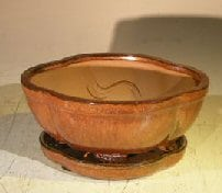 Aztec OrangeCeramic Bonsai Pot - Oval Lotus Shape Professional Series with Attached Humidity/Drip tray 6.37 x 4.75 x 2.625