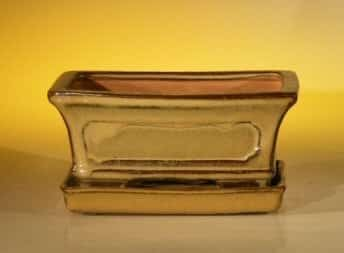 Mustard Color Ceramic Bonsai Pot - Rectangle Professional Series with Attached Humidity/Drip tray 6.37 x 4.75 x 2.625