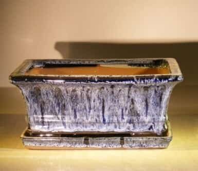 Marble Blue Ceramic Bonsai Pot - Rectangle Professional Series with Attached Humidity/Drip tray 8.5 x 6.5 x 3.5