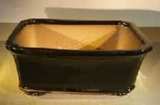 Black Ceramic Bonsai Pot - Rectangle Professional Series 12.5 x 10.5 x 4.5